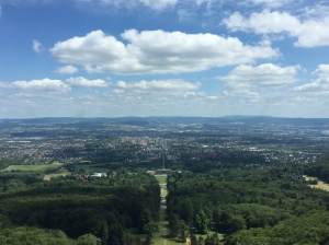Aerial view of Kassel, Germany from the Herkules Monument that overlooks the city